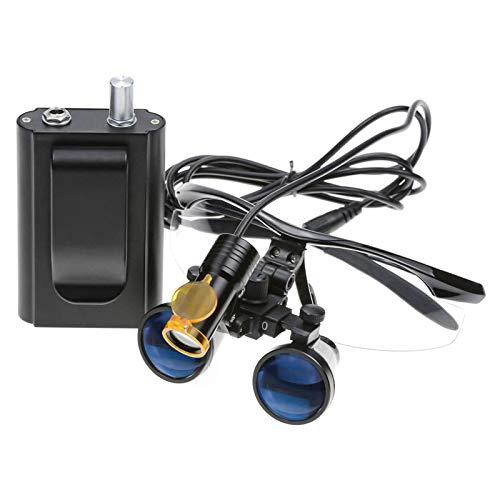 FJLOVE Lupas binoculares quirúrgicas de Vidrio óptico de 3,5 x 420mm de Distancia de Trabajo con lámpara de luz LED,Filtro de Faro LED de Estilo Colgante de Cintura portátil de 3W,Negro