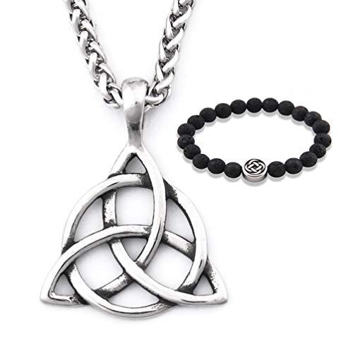 GUNGNEER Stainless Steel Silvertone Celtic Knot Triquetra Chain Pendant Necklace Trinity Eternal Jewelry Men Women