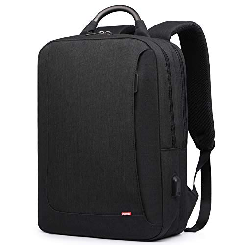 HYZUO Laptop Backpack with USB Charging Port Anti-Theft Water Resistant Slim Stylish College School Backpack Business Travel Bag Fits Up to 15.6 Inch Laptop for Men and Women, Black
