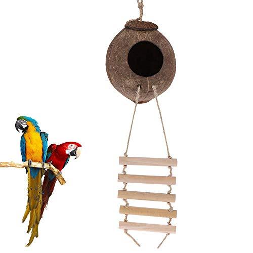 LittRur Natuurlijke Kokosnoot Shell Vogel Nest Huis Met Ladder Huisdier Papegaai Speelgoed Huisdier Vogel Bed Huisdier Accessoires