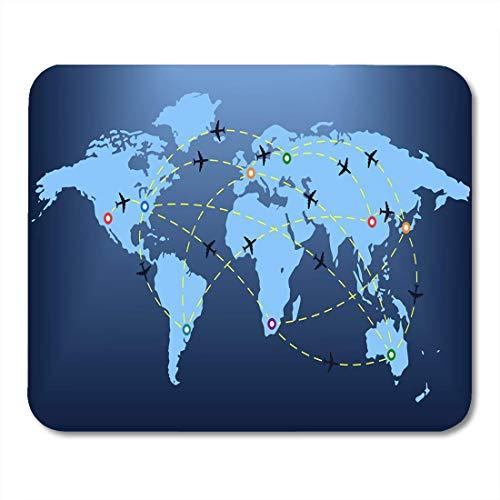 Muiskussentjes Blauw Abstract Vliegtuig Routes Over Wereld Kaart Markers Pointers muismat voor notebooks, Desktop Computers matten