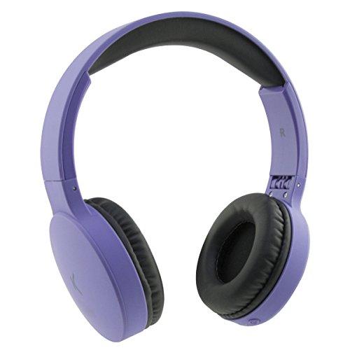 Ksix Go&Play Travel - Auriculares inalámbricos (Plegables, Bluetooth 3.0, micrófono Integrado, Rango de 10 m), Morado