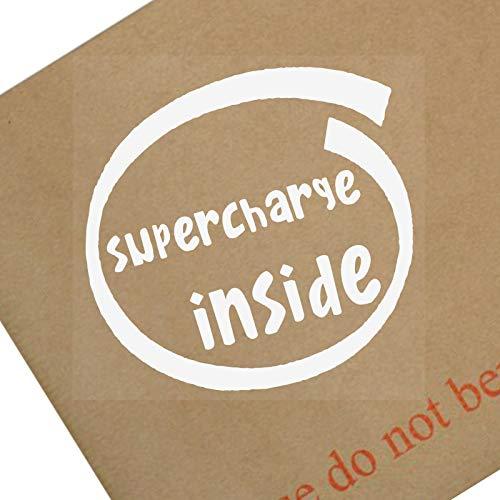 Platina Plaats 1 x Supercharge Binnen-Wit op Clear-87x87mm-Raam, Auto, Van,Sticker,Teken, Voertuig,Lijm,Dragen,Snelheid, Track,Turbo,Gewijzigd,JDM,Drift,Rocket,Bunny,Wide,Body