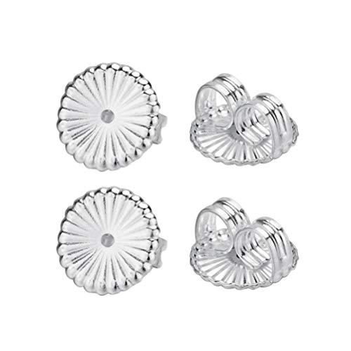 Healifty - 4 piezas de plata de ley 925 con diseño de flores en el dorso de la oreja, almohadillas de seguridad para pendientes (plata grande)