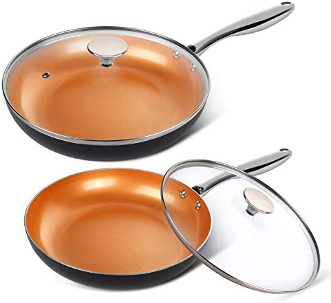 MICHELANGELO Copper Frying Pan Set with Lid 8 10 Frying Pan Set Nonstick Frying Pan Set Copper product image