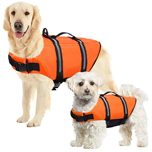 SUNFURA Ripstop Dog Life Jacket, Safety Pet Flotation Life Vest with Reflective Stripes and Rescue Handle, Adjustable Puppy Lifesaver Swimsuit Preserver for Small Medium Large Dogs (Orange, XS)