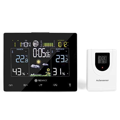 Tecvance Funkwetterstation mit Farbdisplay und Außensensor Innen- und Außentemperaturanzeige Inkl. Batterie und Netzteil - horizontal, schwarz