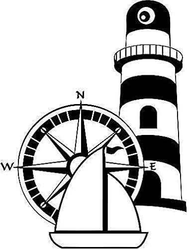 Adhesivo De Pared Brújula Rosa Y Barco Adhesivo De Pared Faro Náutico Aplique De Pared De Vinilo Decoración De Baño Junto Al Mar Artículos Para El Hogar Marino Mural 57 * 76Cm