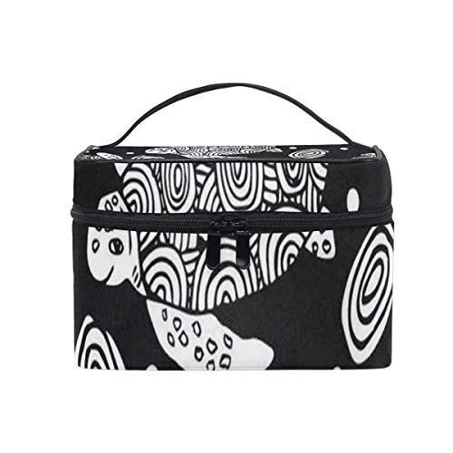 Black Line Sea Turtle Cosmetic Bag Portable Grand Trousse de Toilette pour Femmes/Filles Travel Makeup Bag