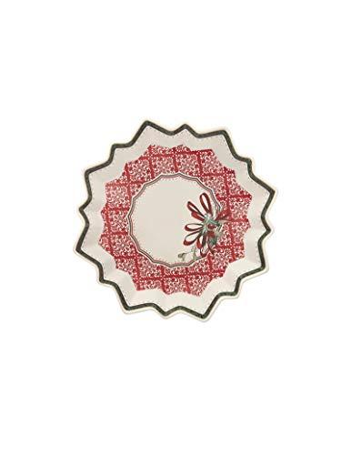 Brandani52365 Vassoietto Stella Cantico Porcellana 22x22 cm Colore Rosso Decoro Natalizio