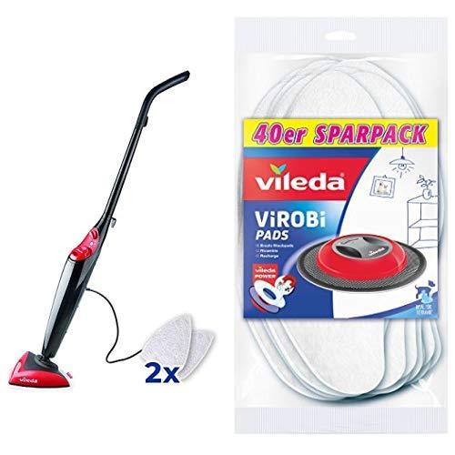 Vileda Steam Dampfreiniger, für streifenfreie und hygienische Sauberkeit, Entfernt 99,9% der Bakterien ohne chemische Reinigungsmittel & Virobi Slim Ersatz-Staubpads, 40er Pack