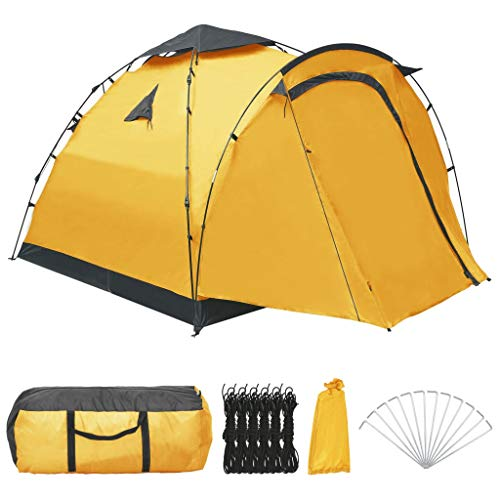 Lechnical Pop Up Camping Tents for 3 Person, Dome Tent Canopy with an 80 cm Anteroom for Hiking Outdoor, Quick Set up and Package, 220 x (220+80) x 160 cm, Yellow