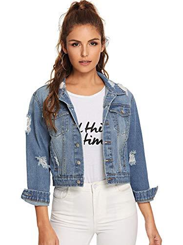 Floerns Women's Long Sleeve Basic Button Down Wash Denim Jean Jacket A Blue L