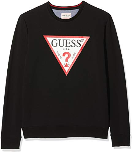 Guess Vin Cn Fleece Jersey, Negro (Jet Black A996 Jblk), Medium para Hombre