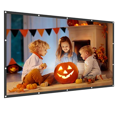 WOWOTO 120 inch Projection Screen 16:9 HD Foldable Wrinkle-Free Portable 3D Movies Screen for Home Theater Outdoor Indoor Support Double Sided Projection