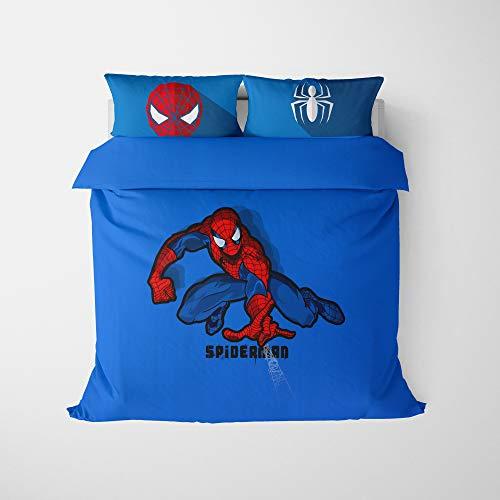 QIAOJIN Marvel Spiderman - Juego de funda de edredón infantil con impresión 3D de superhéroes, con cremallera, para niños y decoración del hogar (135 x 200)