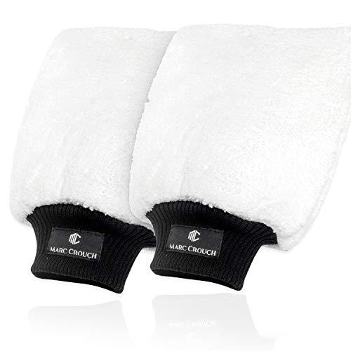 MARC CROUCH® 2X Mikrofaser Handschuhe mit ultimativem Halt dank 4 Innenlaschen und Umhängeschlaufe - unglaubliche Saugstärke – Perfekt für die Nassreinigung von Autos/KFZ, Motorräder oder im Haushalt