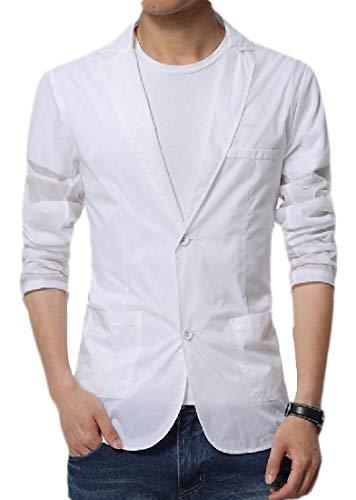 Sweetmini Herren-Blazer, mit zwei Knöpfen, gekerbtes Revers, sportlicher Mantel Gr. XL, weiß