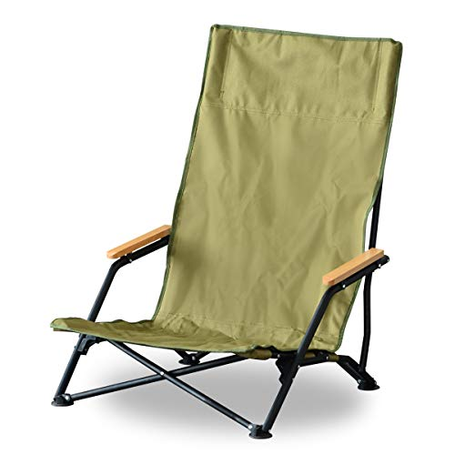 FIELDOOR フィールドチェア ハイバック 【オリーブ】 ロースタイル ハイバック 座椅子 あぐら ひじ掛け 折りたたみ 簡単設置 ソロキャンプ 耐荷重 120kg アウトドアチェア