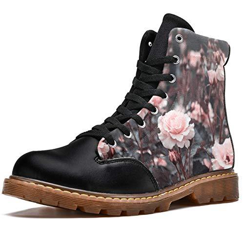 TIZORAX Botas de invierno para las mujeres Jardín Rosa Rosas Imprime la parte superior alta con cordones clásicos de la lona zapatos de la escuela, color Multicolor, talla 40 EU