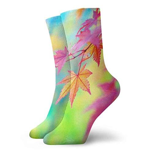 Kevin-Shop Maple Leaf Close Up Calcetines Cortos para Adultos Calcetines Lindos para Hombres Mujeres Yoga Senderismo Ciclismo Correr Fútbol Deportes