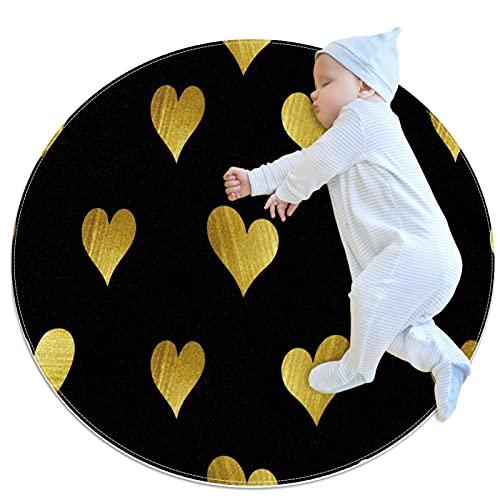 Alfombra redonda antideslizante con diseño de corazones dorados, color negro, para sala de estar, dormitorio, baño, entrada, puerta, silla, estilo moderno, decoración de casa, oficina, 1 m