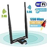 Maxesla Adaptateur WiFi USB 1200Mbps WiFi Dongle 5G/2.4G Dual Band Detachable 5dBi Antenne pour PC/Desktop/Ordinateur/Tablette Support Windows XP/Vista/2000/7/8/10, Mac OSX 10.6-10.14, Ubuntu Linux