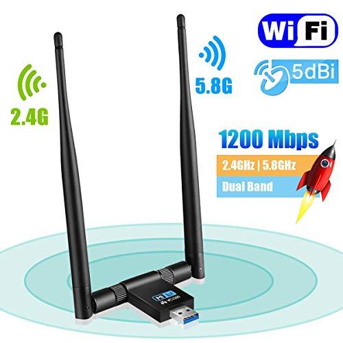 Maxesla USB WiFi Adapter 1200Mbps WiFi Dongle 5G/2.4G Dual Band Abnehmbare 5dBi Antenne für PC/Desktop/Laptop/Tablet Unterstützung Windows XP/Vista/2000/7/8/10, Mac OSX 10.6-10.14, Ubuntu Linux