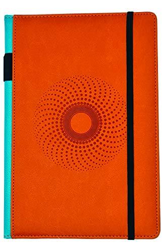 EJRange Cuaderno A5 con forro – Funda de piel sintética, suave al tacto, soporte para bolígrafos, cinta, planificador de bloc de notas, 192 páginas (naranja)