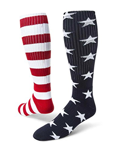 Red Lion Independence Mismatched Knee High American Made Socks (Navy Blue/White/Red - Large)
