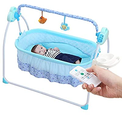 Electric Baby Cradle Swing, Automatic Bassinet Swing Sleeper for Baby Boy and Girl with Music (Brown)