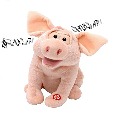 Izzy Singendes Schwein mit Musik und Bewegung Plüschtier beweglicher Kopf, öffnet den Mund