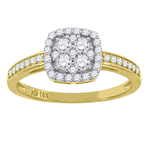 10k Two tone Gold Womens CZ Cubic Zirconia Simulated Diamond Square Head Ring Measures 8x1.8mm Wide Size M 1/2 Jewelry Gifts for Women - Higher Gold Grade Than 9ct Gold