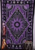 KHKJ Hippie Psicodélico Celestial Mandala Luna Sol Tapiz Colgante de Pared Gran Indio Bohemio Hippy Tapices Decoración de Tela A21 200x180cm
