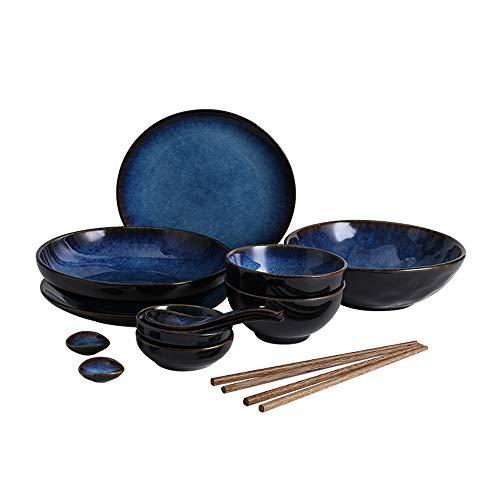 RKY Bol- Ensemble de vaisselle japonaise plat en céramique plat plat à la maison bol bol à soupe bol de riz poisson créatif plat plat assiette -3 combinaison /-/ (taille : 14 pieces)