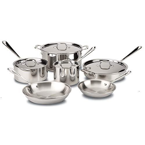 All-Clad D3 Stainless Cookware Set, Pots and Pans, Tri-Ply Stainless Steel, Professional Grade,...