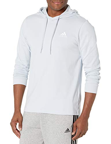 adidas,Mens,Small Logo Single Jersey Hoodie,Halo Blue/White,Small