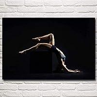 ヨガフィットネスモデルスポーツ女性エクササイズアート体操プリントキャンバスインスピレーションポスタージム絵画ヨガルームホームジムの装飾-S40X60Cmフレームなし