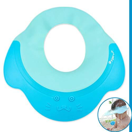 Shampoo Schutz für Babys, Haare waschen ohne Tränen, für 0-9 Jahre zum Überstülpen, 100% wasserdicht I weiche Silikonhaut, Augenschutz und Ohrenschutz, Haarwaschhilfe, Kinder Duschkappe, blau