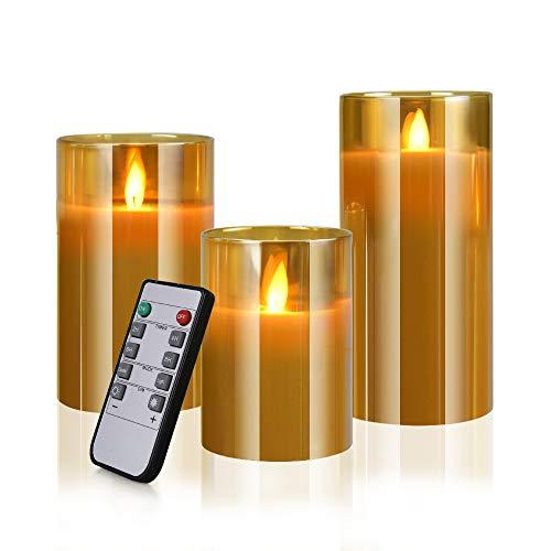 LED Kerzen Glas 3er Set, Flammenlose Flackernde Kerzen, Fernbedienung mit Timerfunktion Realistisch LED-Flammen, Größe 10/12,5/15cm Hoch, 7,5 cm Durchmesser