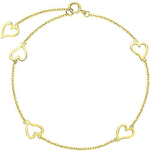 FANCIME Pulsera Corazon de Oro Amarillo Macizo de 14 Quilates (585) Básica Minimalista Genuina joyería para Damas Mujer Niñas - Longitud Cadena: 15 + 2 + 2 cm