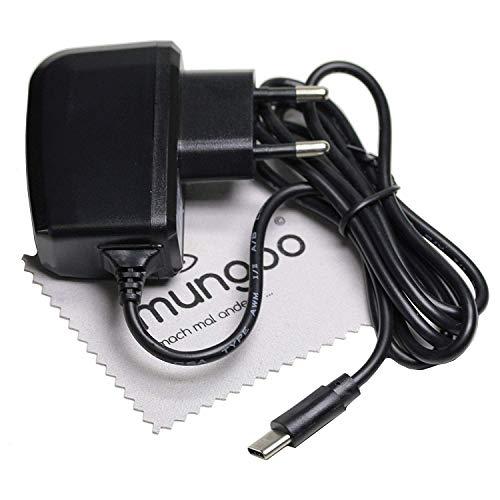 Cargador para Blackberry DTEK60, KEYone, KEYone Black Edition, BV8000 Pro, P6 USB Type-C con mungoo Pantalla paño de Limpieza