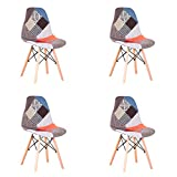 EGOONM Set di 4 Sedie Patchwork Multicolore in Tessuto di Lino Tempo Libero Sedie da Soggiorno Sedie da Pranzo con Schienale con Cuscino Morbido (Rosso)