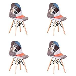 N / A Pack de 4 sillas Sillas de Retazos Multicolores en Tela de Lino Sillas de Sala de Estar de Ocio Sillas de Comedor con Respaldo de cojín Suave (Rojo)