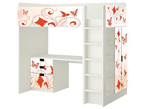 Orange Butterfly Aufkleber - SH11 - passend für die Kinderzimmer Hochbett-Kombination STUVA von IKEA - Bestehend aus Hochbett, Kommode (3 Fächer), Kleiderschrank und Schreibtisch - Möbel Nicht Inklusive   STIKKIPIX