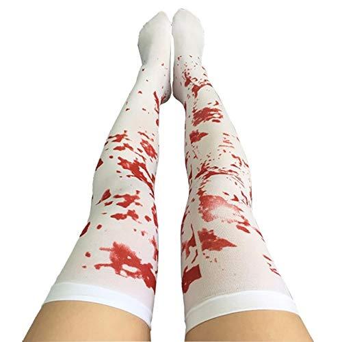 WSJDE 2018 lustige Cosplay gestreift über das Knie strümpfe Halloween Blood Forked Bone Muster Frauen Cosplay Terror Blood sockendeep Saphire
