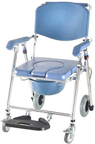HMMN Silla DE Aluminio RUBIADOS, Frenos de Asientos Acolchados y reposapiés, Inodoro en la Cama portátil, Bariatric Drop-Brazo, para Personas Mayores Ancianos, discapacitados, discapacitados