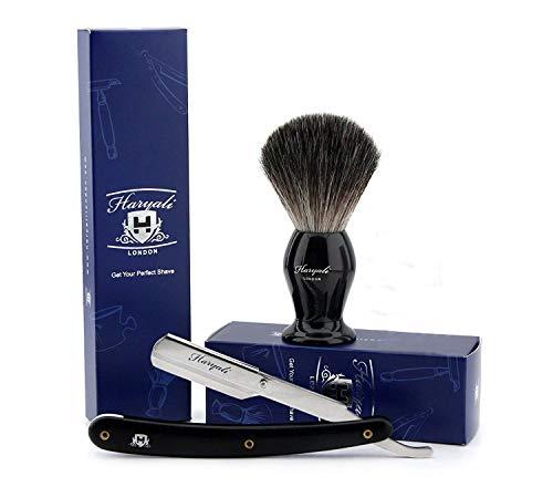 2 Pièces Homme Rasage Ensemble Livré avec Noir Pur Blaireau Brosse & Gorge Style Rasoir Parfait pour Tous Type de Shave.