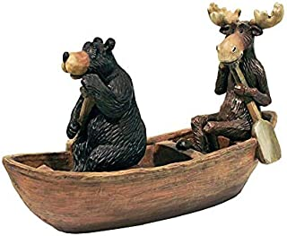 Design Toscano Moose and Black Bear in a Boat Statue
