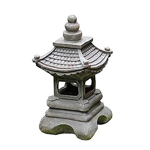 DDGD Asian Decor Pagoda Lantern Outdoor Statue Sacred Solar Waterproof Garden Sculpture Antique Figurine for Patio Lawn A